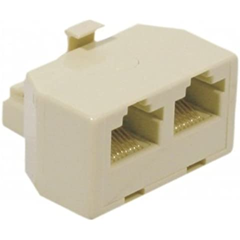 Pack CABLING–Adaptador con conector RJ45hembra y Conector RJ45X2Hembra, marfil + 1cable red de 5métres