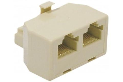 Pack CABLING® - Adaptateur avec fiche RJ45 femelle ET fiche RJ45 x2 femelle, ivoire + 1 cable réseau de 5 métres