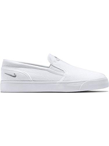 Nike Unisex-Erwachsene Wmns Toki Slip Canvas Turnschuhe Blanco (White / Mtlc Platinum)