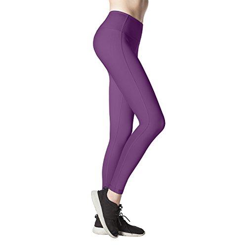 Lapasa Damen 3/4 Sport Leggings – blickdicht, dehnbar und luftig, 3/4 Yoga Sporthose, Damen kurz Training Tights, L002, Violett, XL (Unten Knöchel-länge Hohe)