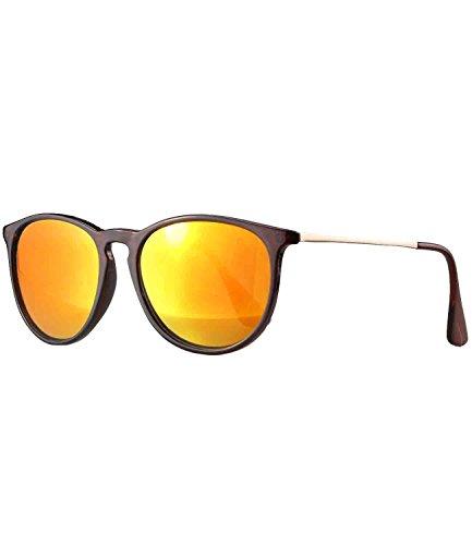 caripe Retro Sonnenbrille Damen Herren Hornbrille Vintage Brille verspiegelt + getönt - 139 (braun...