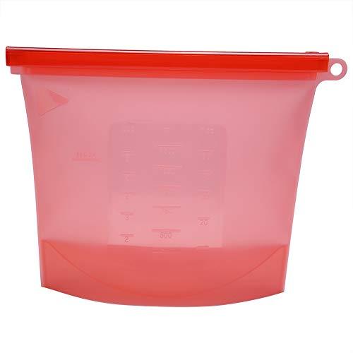 Wiederverwendbare Aufbewahrungsbeutel aus Silikon, klarer Aufbewahrungsbehälter für Lebensmittel, für Flüssigkeiten, Snacks, Fleisch, Gemüse und mehr, 1000ml(Rot)