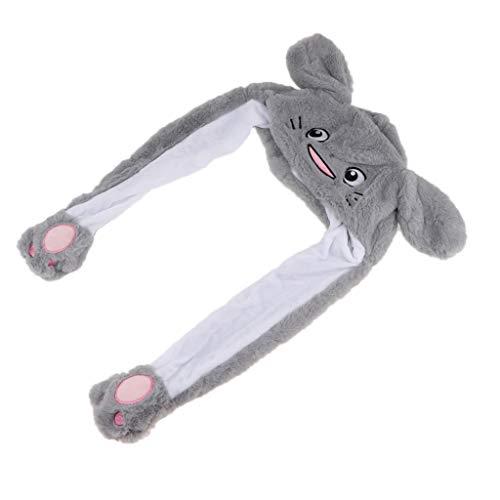 F Fityle Dame Mädchen Cosplay Plüsch Tier Hut Spielzeug mit Beweglichen Ohren Tiermütze, Machen die Ohren Bewegen durch Kneifen Airbag - Graue - Graue Katze Kostüm