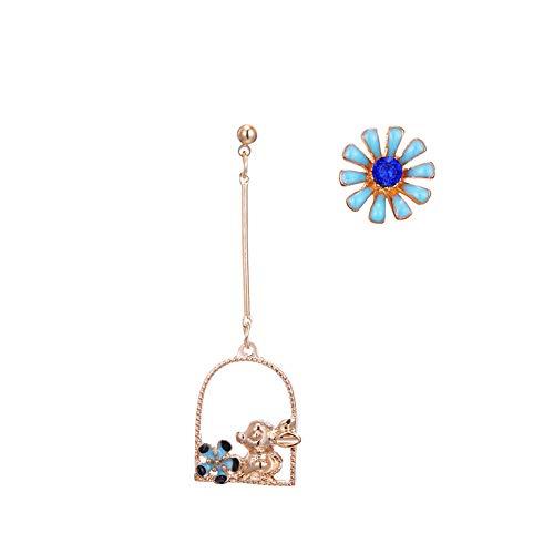Dl Net (Nicetruc Nette Tropfen-Ohrring kreative Tropfen Kaninchen Asymmetrische Blumen-Bolzen-Ohrringe asymmetrische Schöne langkettige Troddel-Band-Ohrringe 1Pair 1905ES61 Typ)
