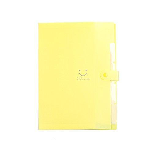 Fächermappe Ordner, bunt, Buchstabe A4-Papier Taschen Akkordeon Dokument Veranstalter 5Schichten loseblattwerken Clip Tasche mit Taben und Knopf für Schule Büro 12.8x9.6x0.7inch gelb (Akkordeon Ordner, Brief)