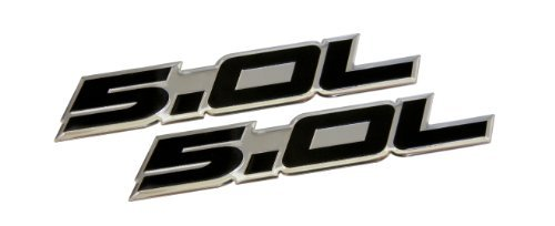 2 x (Pair/Set) 5.0L Emblems in Black Highly Polished Aluminum Silver Chrome Engine Swap Badge for Ford Mustang GT F-150 Boss 302 Coyote Cobra GT500 V8 Crown Vic Victoria