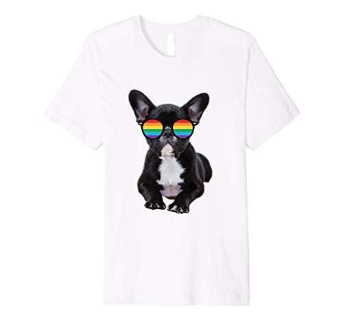 Französische Bulldogge T-Shirt LGBT Regenbogen Flagge Shirt - Bulldogge T-shirt Tee