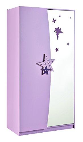 Demeyere 299406 Kleiderschrank 2 Türig, Spiegel FEE, 93,3 x 182,8 x 50 cm, rosa / weiß