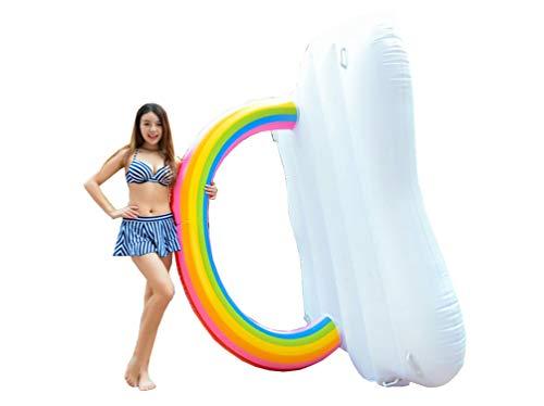 Rengzun PVC Fila Flotante Inflable Cama de Agua Niños Adultos Piscina al Aire Libre Juguete Playa Piscina Tumbona Ocioso Arcoiris