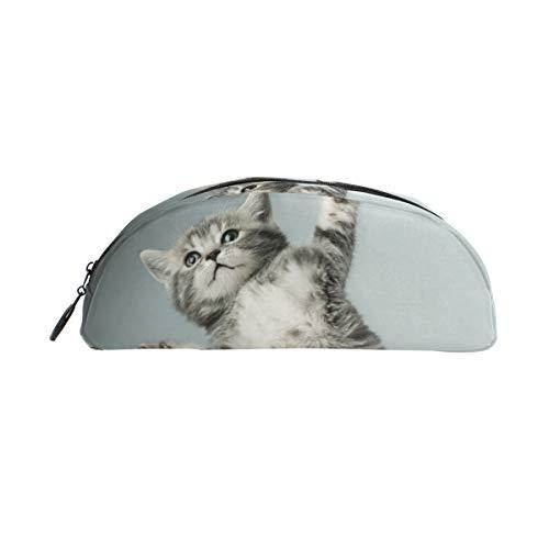 Pencil Bag Pen Case Pouch Cute Kitten Animal Cat Makeup Cosmetic Semicircle for Girls Boys Travel School (Make-up Kids Cat)