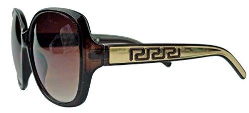 amashades Vintage Classics Große Damen Sonnenbrille im Designer Stil Butterfly Modell 70er Jahre V291 (Gold/Cognac)