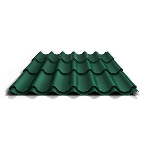 Pfannenblech | Ziegelblech | Dachziegelblech | Profil PA47/1060RTA | Material Aluminium | Stärke 0,70 mm | Beschichtung 25 µm | Farbe Moosgrün
