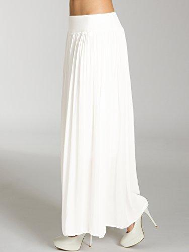 CASPAR RO012 leichter langer Damen Sommerrock Weiß