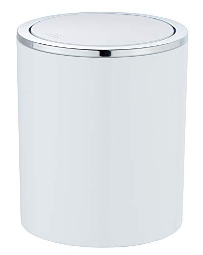 WENKO Schwingdeckeleimer Inca - Abfallbehälter mit Schwingdeckel Fassungsvermögen: 2 l, 14 x 16,8 x 14 cm, weiß