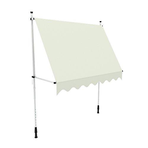 Galleria fotografica paramondo Tenda da sole per balcone JAM, 2,5 x 1,5 m, telaio bianco, tessuto a tinta unita, crema