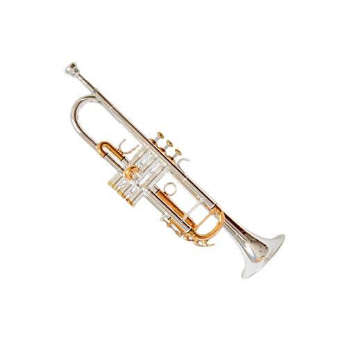 Haoyushangmao Leistungsniveau High-End-Profi-Standard-Trompete, geeignet für Anfänger, Solo- und Band-Performances, Tonart #A (BB), Weißes Kupfer-Material, Schöner Ton ( Color : Silver )