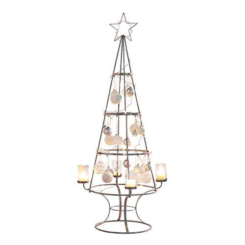 Pureday Weihnachtsdeko - Dekoobjekt Weihnachtsbaum - Kerzenhalter - Metall - Silber - Höhe 150 cm
