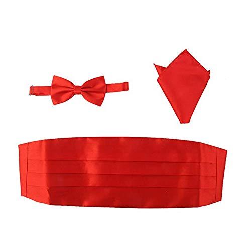 lujiaoshout 3Pcs Männer Satin Fliege Cummerbund Handkerchief Set Adjustable Formal Ansatz Bowtie Smoking Bowtie für Parteien Red Bowties Cummerbunds