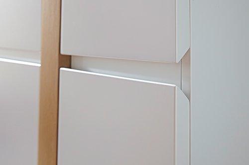 Sideboard in matt-weiß mit vertikalen Absetzungen in Eiche-NB, 2 Schubkästen, 3 Türen und 4 Einlegeböden, Maße: B/H/T ca. 145/87/40 cm - 3
