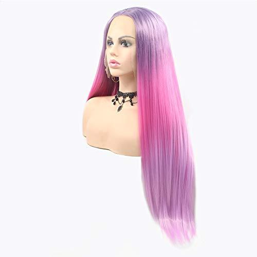 Perücke für Frauen Farbe Perücke natürliche lange glatte Haare Weihnachten vor der Spitze Perücke rosa lila gemischt Rollenspiel Perücke