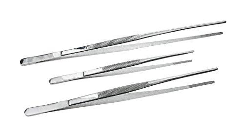 SE TW2–408-teiliges Pinzette mit Wellenschliff Tipps, Längen: 30,5cm 25,4cm 20,3cm