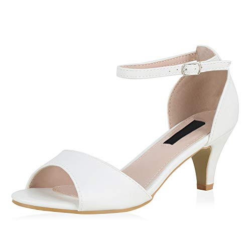 SCARPE VITA Damen Riemchensandaletten Klassische Sandaletten Leder-Optik Schuhe Stiletto Absatzschuhe Basic Party 176727 Weiss Total 41