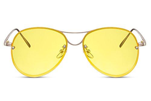 Cheapass Piloten-Sonnenbrile Gold Gelb UV-400 Flieger-Brille Metall Damen Frauen