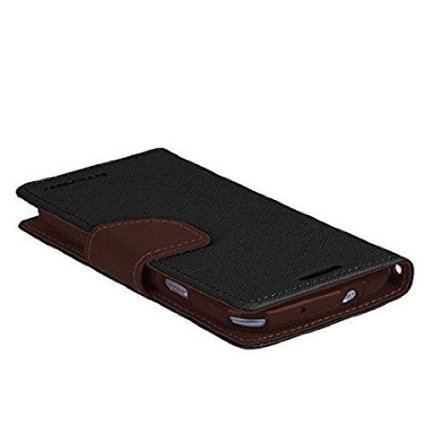Imported Mercury Fancy Wallet Dairy Flip Case Cover for Micromax unite 2 A106 - Black Brown