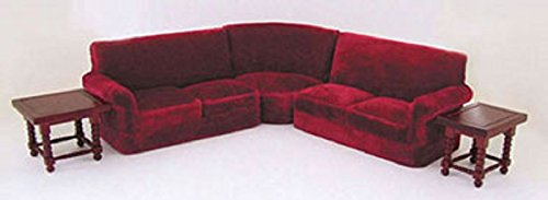 Dollhouse Miniature 1:12 Red Sofa Corner Couch Pieces with 2 Side Tables