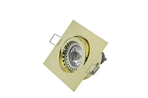 Lampenlux LED Einbaustrahler Snap eckig schwenkbar Spot 230V Aluminium (Gold gebürstet, mit Leuchtmittel) -