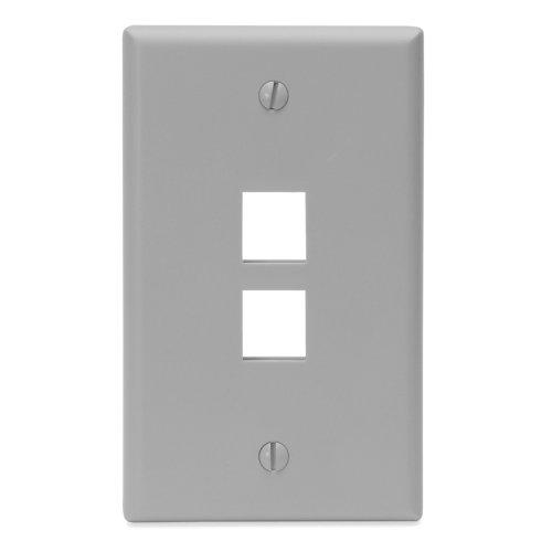 Leviton 41080-2GP QuickPort Wallplate, Single Gang, 2-Port, Grey by Leviton Quickport Single
