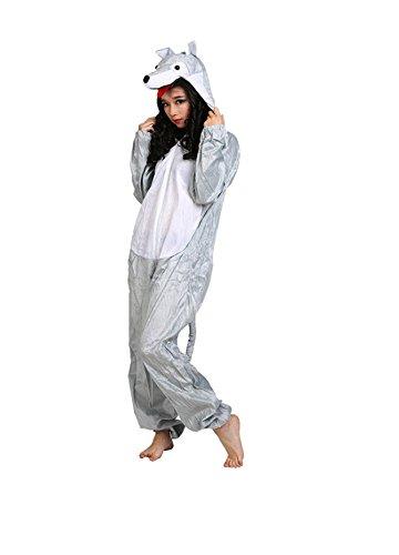 Matissa Erwachsene Tierkostüme Unisex Pyjamas Kostüm Outfit Cosplay Onesies (Wolf)
