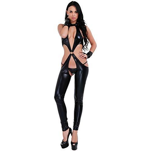 iEFiEL Catsuit Damen Domina Jumpsuit Leder Optik OVERLL Bodysuit