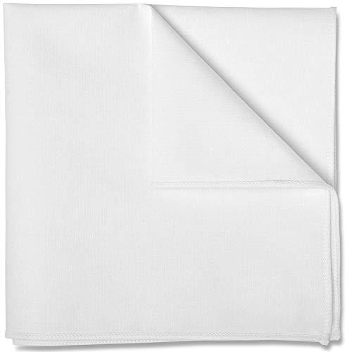 Puentes Denver Einstecktuch in reinem Weiß, Baumwolle von Hand genäht, Herren Taschentuch Einstecktücher (Weiß)