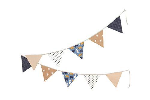 ULLENBOOM ® Wimpelkette Sand Bär (Stoff-Girlande: 3,25 m, 10 Wimpel, farbenfrohe Deko für Kinderzimmer & Baby Geburtstage, Motiv: Sterne)