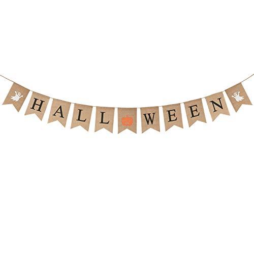 Halloween Banner mit Geist Kürbis Wimpel Vintage Sackleinen Wimpelkette Bunt hängend Girlande für Karneval Halloweendeko Party Grusel Deko Foto Prop Requisiten