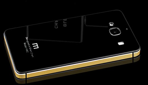 Luxury Glass Back Aluminium Side Bumper Panel Battery Injection Case Cover for Xiaomi Redmi 2 - Black & Gold(Yellow)