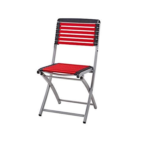 ECSD Einfaches Metall Klappstuhl Gummiband Rückenlehne Stuhl Büro Lounge Chair (Farbe : Rot) - Komplett Gepolstert Metallrahmen