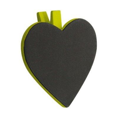 Ardoise Cœur sur Pince - Sachet de 6 - Vert Tilleul