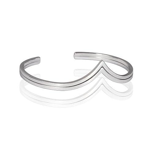 Fashion Plaza 925 echt Silber Herz Form In zwei duennen Band Armband fuer Frau Y31