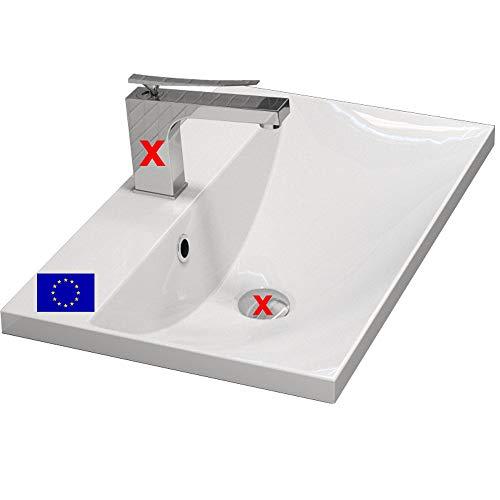 Einbau-Waschbecken 60x35cm eckig, Einbau-Waschtisch Malua zum einlassen in eine Platte oder im passenden Möbel, Material: hochwertiges Mineralguss, Qualität MADE IN EU