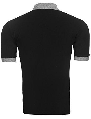Coofandy Herren Poloshirt T-Shirt Männer Oberteile Haikragen Kontrastiert Basis Klassisch Sommerlich Poloshirts Schwarz