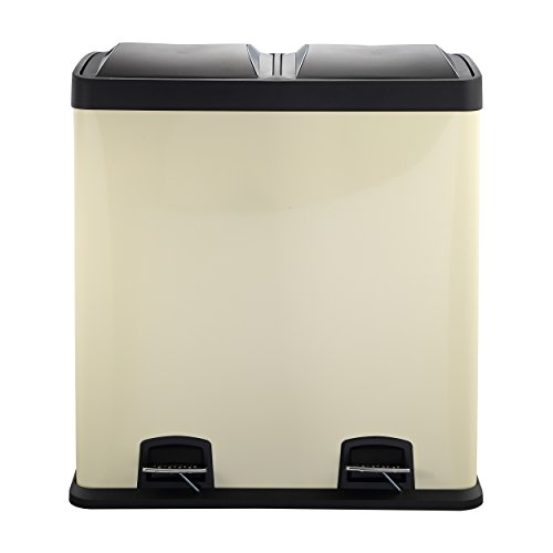 Mari Home Crema 60L Cubo basura acero Basurero reciclaje