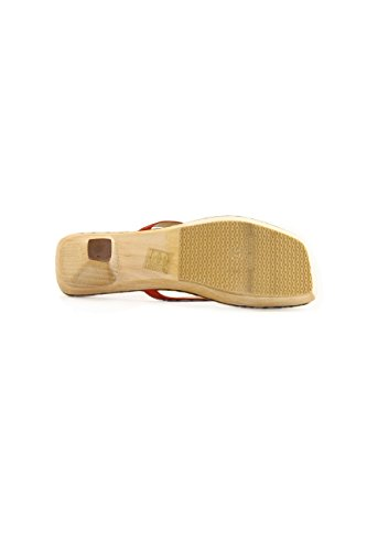 Replay Red Leather Flip Flops with Wooden Heel mod. GW5302 100% Made in Italy Rosso