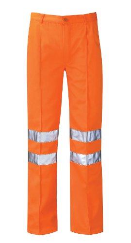 Paroh PCRTT Delta - Pantaloni per lavoro in ferrovia, con strisce catarifrangenti, lunghezza gamba regolare, taglia 48, colore: Arancione