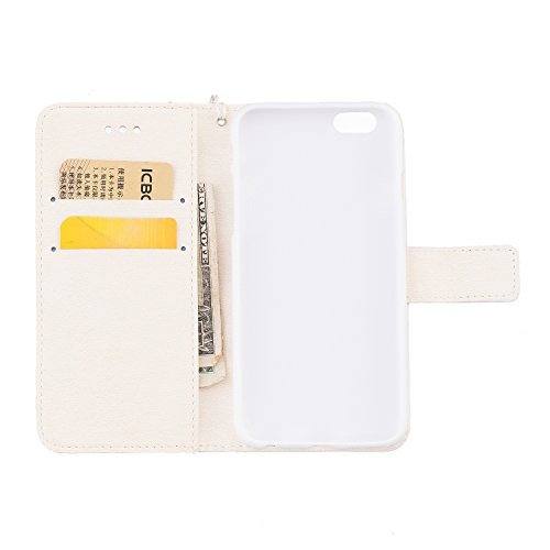 Cover iphone 6S, Cover iphone 6S, Alfort Cover Protettiva Premium PU di alta qualità Flip Case Cover per Apple iphone 6S 4.7 Smartphone Cover di Cuoio Flip Stand Ci sono funzioni di supporto e portaf Bianco