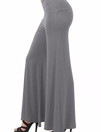 Emma Damen Klassisch einfarbrig hohe Taille weite Palazzo Lounge Hose Dunkelgrau