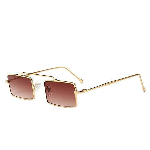 MJDABAOFA Sonnenbrillen,Retro Kleine Rechteckige Sonnenbrille Gold Frame Braune Linse Inspiriert Frauen Vintage Designer Sonnenbrillen Damen Für Schutzbrillen Quadrat Schattierungen Brillen