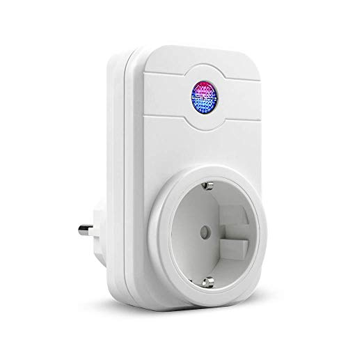 Enchufe Wifi, Enchufe Inteligente Wif compatible con Amazon Alexa Echo Google Home Android e iOS APP, Smart Plug Inalámbricos Zócalo Interruptor Temporizador Programador Acceso Remoto - 1 Unidad