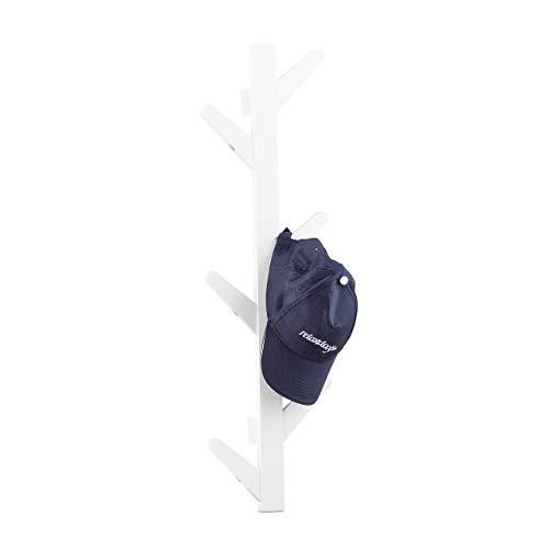 Relaxdays Wandgarderobe aus Bambus, 6 Haken, Garderobe, Kleiderhaken für Bad und Flur, HxBxT: 78 x 26 x 7 cm, weiß